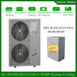 Riscaldatore di acqua dell'aria della pompa termica del riscaldamento di pavimento dell'invertitore di CC dell'acqua calda 12kw/19kw/35kw/70kw Evi del riscaldamento Room+55c di inverno della Slovacchia Cold-20c