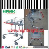 Chariot à achats de panier de caddie en métal avec le support de deux paniers