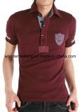 T-shirt de polo brodé par vente en gros de coton de la mode des hommes ajustés de modèle