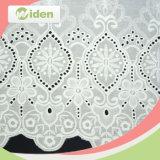 140 Cm Modelo floral blanco del color de encaje de algodón bordado de la tela