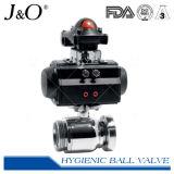 Linha pneumática higiênica da válvula de esfera com cabeça de controle visual