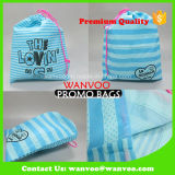 Sac de cadeau de Noël de polyester de cordon de grande capacité de piste bleue de la Chine