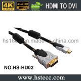 HDMI de alta velocidad a DVI M \ M Cable conector de metal con oro plateado