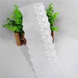 Cordón blanco 100% del bordado del algodón de la alta calidad para los accesorios de la ropa