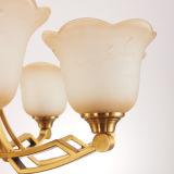 Hängende Beleuchtung-luxuriöses Bronzefarben-Leuchter-Licht mit Blumen-Glasform D-6115/3
