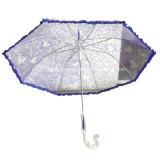 Damen Fashion Plastic Transparent Poe Umbrella mit Frill Design
