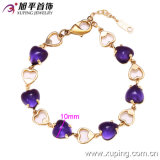 72830 Copper AlloyのArrrival Fashion 14kの金PlatedのElegantの新しい中心Shaped Crystal Jewelry Bracelet