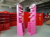 Estante de exhibición cosmético de piso de Adversting de la cartulina con los estantes de exhibición derechos impresos, libres a todo color
