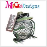 Beau décor bienvenu bon marché en gros de jardin en métal de grenouille