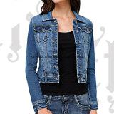 方法短い女性のデニムのジーンズのコートの外の摩耗の屋外のジャケット
