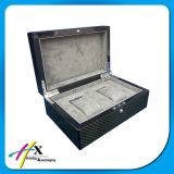 Rectángulo de almacenaje de lujo de empaquetado del reloj de la fibra del carbón de la alta calidad del rectángulo del reloj doble del pedazo