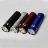 9 LED-Minialuminiumtaschenlampen-Fackel mit Abzuglinie