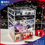 Cadre acrylique de caisse de support de tiroirs de renivellement d'espace libre cosmétique d'organisateur