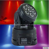Mini più poco costoso 7*10W RGBW 4 in 1 discoteca Party LED Wash Moving Head Light del DJ