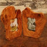 Marco tallado exquisito marco de madera de la foto de 5 pulgadas