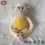 Jouet de peluche bourré par animal mol mignon jaune de singe de séance de ventre