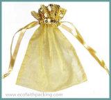 Saco de Organza, saco de Drawstring do engranzamento, saco dos acessórios da jóia de Organza