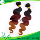 1b/4# Ombre Color Weavon Straight Hair, 인도 Human Hair Extension