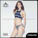 Ladies Halter Boho listrado malha Bikini Natação Suit