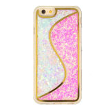 Caja líquida de la arena movediza TPU del color del doble de la cubierta del teléfono móvil para el iPhone