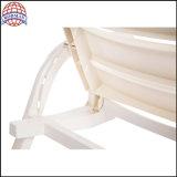 Weißes Outdoor Plastic Sun Lounger mit Adjustable Backrest