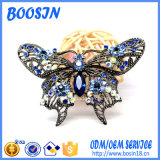 Brooch di cristallo blu di Pin della farfalla della lega su ordinazione per il costume