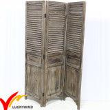 Schäbiges schickes Weinlese-Antike-Weiß, das festes Holz-Bildschirm-Raum-Teiler faltet