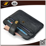 Support par la carte de crédit mince de pièce de monnaie de cuir véritable de mollet avec le bouton (HJ8107)
