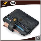 Echtes Kalb-Leder-dünner Kreditkarte-Münzen-Halter mit Taste (HJ8107)