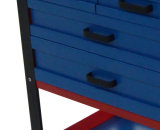 26-Inch Professional 6 gaveta Rolando gabinete, azul / vermelho