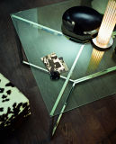 De moderne Eettafel van het Glas van het Ontwerp Lange met Roestvrije Basis (nk-dt233-1)