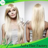Perruque indienne de cheveux de Remy de cheveux humains blonds soyeux de bande
