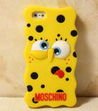 Caja amarilla divertida del teléfono celular del silicón de Spongebob del PUNTO (XSR-024)
