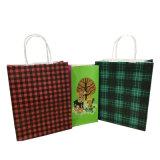 Bolsa de papel clásica de Brown Kraft/bolso del regalo de la Navidad