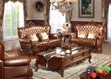 Mobilia moderna del sofà, sofà di legno del cuoio genuino (UL-NSC081)