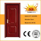 Portello di legno dell'entrata principale del salone, portello di legno di vetro
