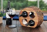 Cremagliera di legno del vino del controsoffitto con la corteccia naturale, supporto 4-Bottles