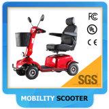 無効の大人のための買物かごが付いている四輪電気移動性のスクーターか年配者または大人
