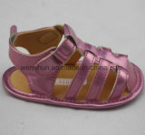 Пурпуровая верхушка PU кожаный сандалий младенца для девушок младенцев Ws1073