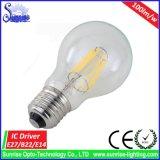 暖かい白A60 E27 6W LEDランプのフィラメントの球根ライト