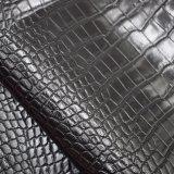 黒いカラーワニの皮パターン総合的なPUの革