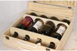 Boîte à vin en bois de pin de qualité supérieure pour quatre bouteilles