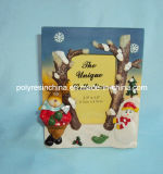Polyresin Christmas Photo Frame con Snow Man y Reindeer Statue