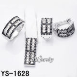 Manier 925 Sterling Silver Jewelry Set met Black and White CZ