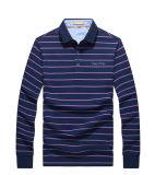 Großhandelshersteller-Form-lange Hülsen-gestreifte Polo-Hemden