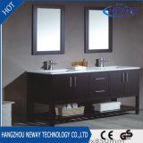 Gabinete da vaidade do banheiro da madeira contínua de dissipador dobro do assoalho