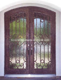 Eyebrown Top Security Wrougt Iron Double Doors with Rain Glass