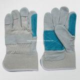Kuh-aufgeteiltes Leder-verstärkter doppelter lederner Palmen-Arbeits-Handschuh (3060.05)