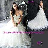 Vestido de casamento bonito do vestido de Tulle do laço com trem da capela