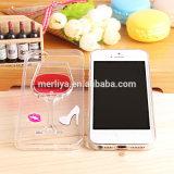 사치품 3D는 iPhone6/7를 위한 액체 적포도주 컵 상자 덮개를 플러스 지운다